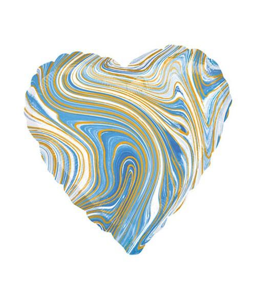 Herz-Folienballon - marmoriert - blau, gold - 43 cm
