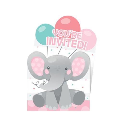 """Einladungskarten """"Little Elephant - Girl"""" - 8 Stück"""