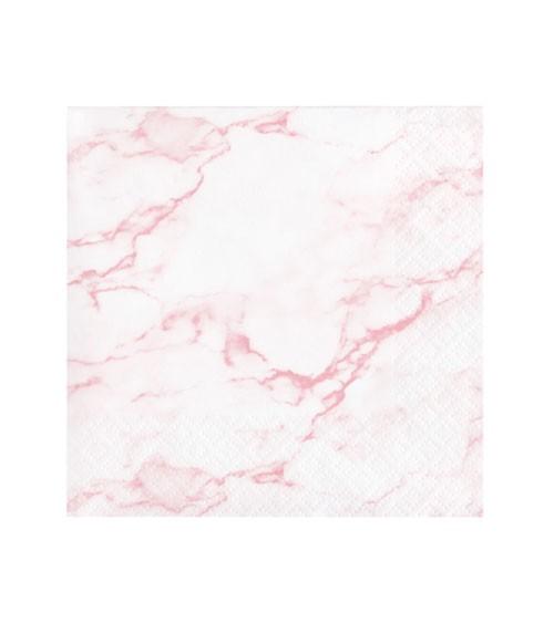 "Cocktail-Servietten ""Marble"" - rosa - 16 Stück"