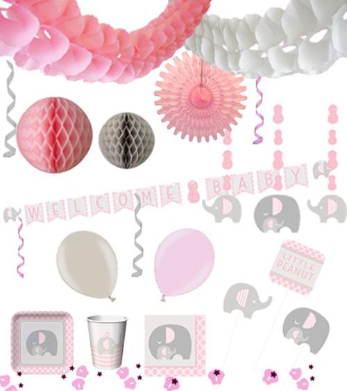 baby party deko set kleiner elefant rosa. Black Bedroom Furniture Sets. Home Design Ideas
