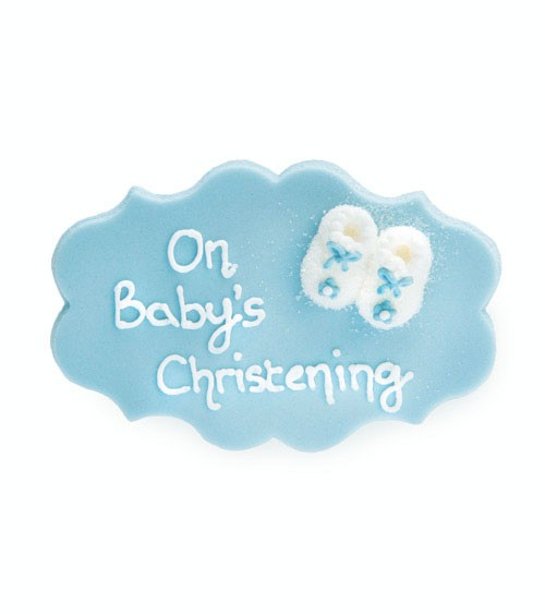 "Zuckerdekor ""On Baby's Christening"" - hellblau - 9,5 cm"