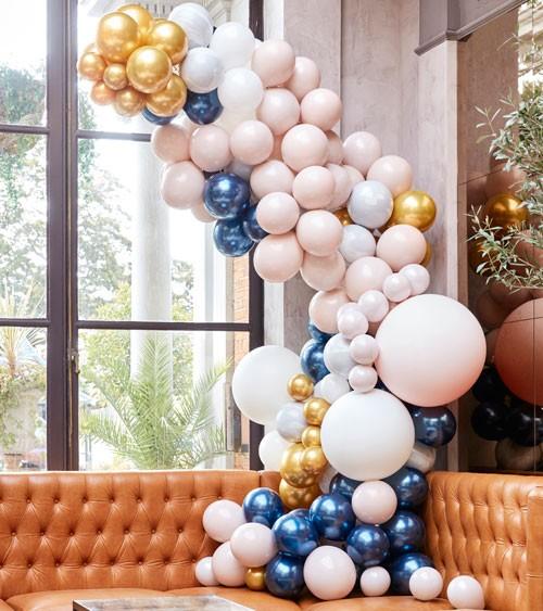 Deluxe Ballongirlanden-Set - gold, nude, navy & marmor - 200-teilig