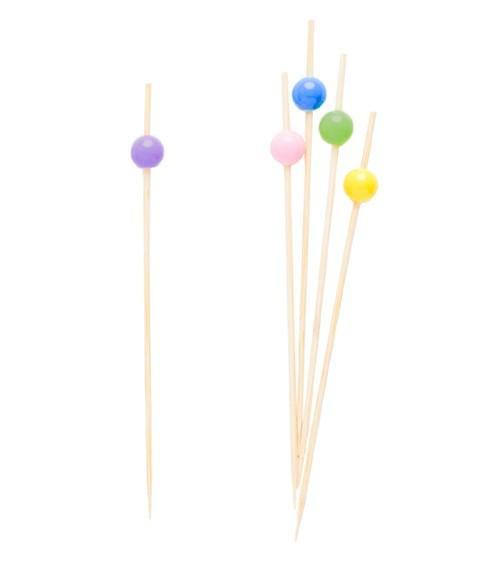 Party-Picks mit Perle - bunt - 12 cm - 25 Stück