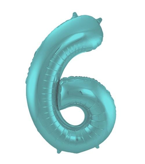 "Zahl-Folienballon ""6"" - matt pastel mint - 86 cm"