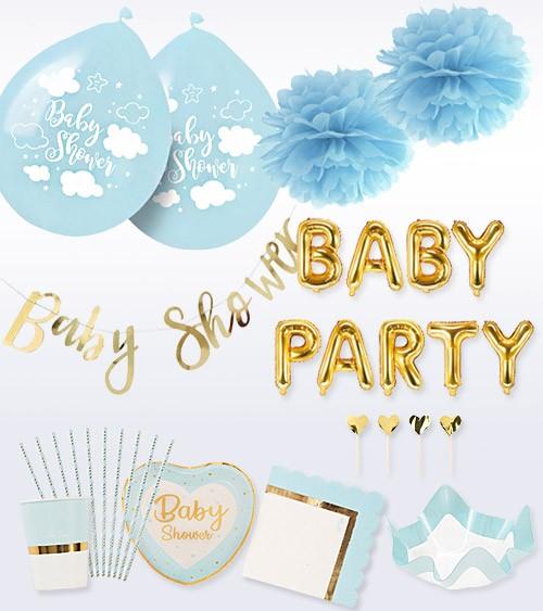 "Babyparty Deko-Set ""So sweet"" - pastellblau - 56-teilig"