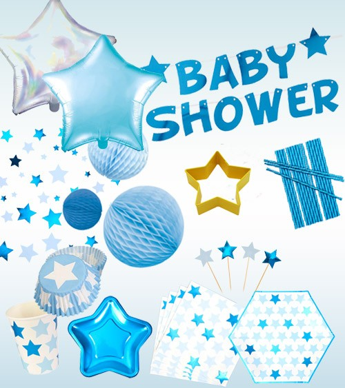 "Babyparty Deko-Set ""Little Star Blue"" - 51-teilig"