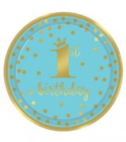 "Pappteller ""1st Birthday"" - türkisblau/gold - 8 Stück"