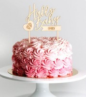 """Dein Cake-Topper """"Hallo Baby - Füßchen"""" aus Holz - Wunschtext"""