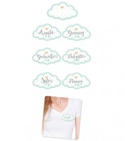 Babyparty-Gäste-Sticker in Wolken-Form - mint - 18-teilig
