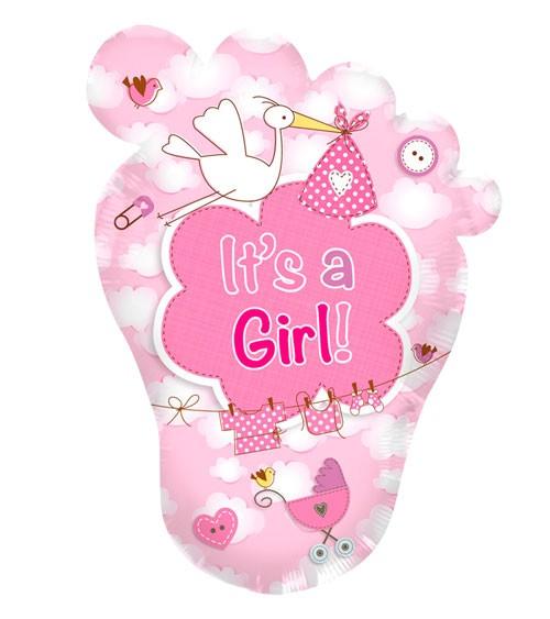 "Babyfüßchen-Folienballon mit Storch ""It's a Girl"""