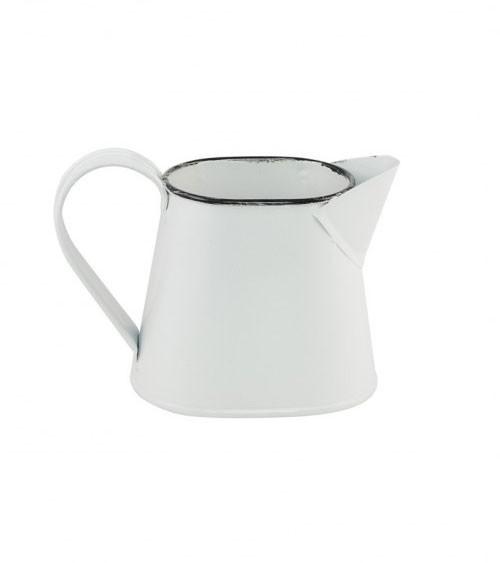 Kleine Deko-Kanne aus Metall - weiß, schwarz - 12 x 7,5 cm