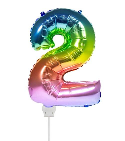 "Folienballon Zahl ""2"" - rainbow - 36 cm"