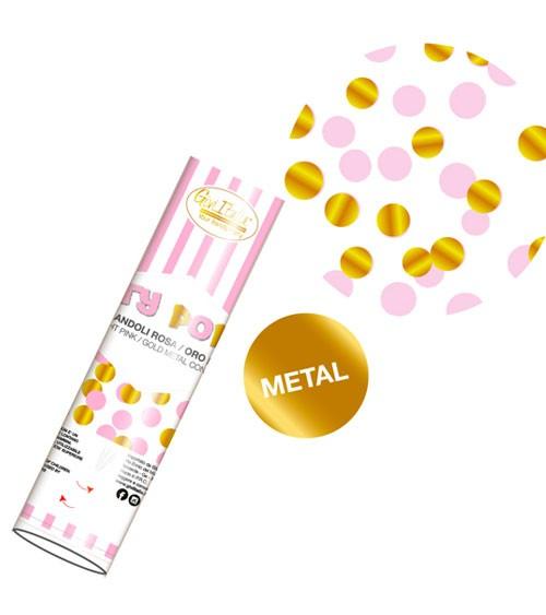 Konfetti-Kanone - rosa und metallic gold - 20 cm