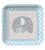 """Pappteller """"Kleiner Elefant - hellblau"""" - 8 Stück"""