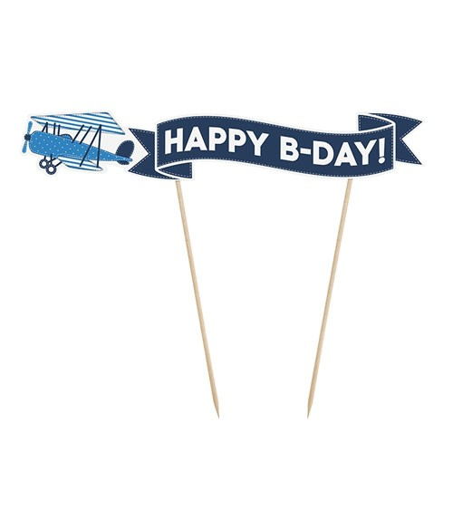 "Cake Topper ""Flugzeug"" - Happy B-Day!"