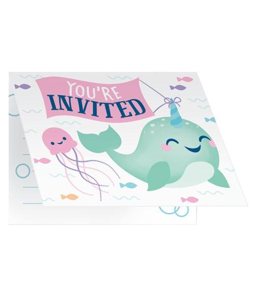 """Einladungskarten """"Narwal-Party"""" - 8 Stück"""