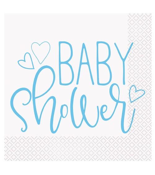 """Servietten """"Baby Shower - blau"""" - 16 Stück"""