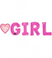 "Folienballon-Set ""It's a Girl"" mit Herz - pink"