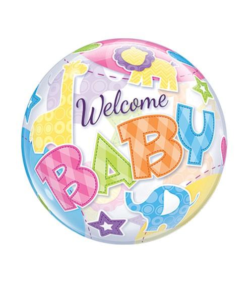 """Kugelballon """"Welcome Baby"""" mit bunten Zootieren - 56 cm"""