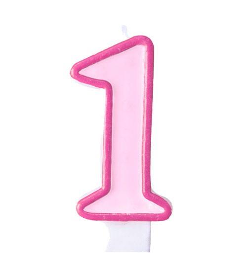"""Geburtstagskerze """"1"""" - rosa/pink"""