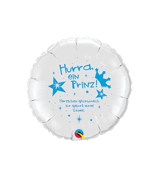 "Runder Folienballon ""Hurra, ein Prinz!"" - weiß/blau"