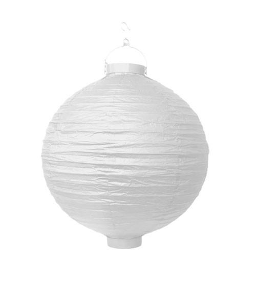 Papierlampion mit Beleuchtung - weiß - 20 cm