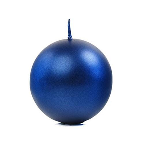 Kugelkerzen - navy blue metallic - 8 cm - 6 Stück