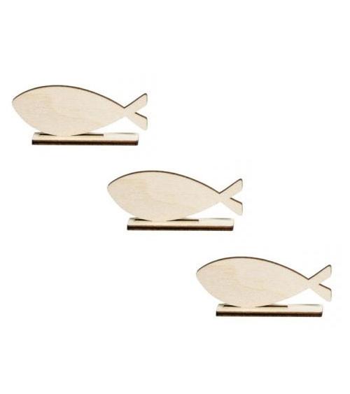 """Holzaufsteller-Set """"Fische"""" - 10 x 4,4 cm - 12-teilig"""