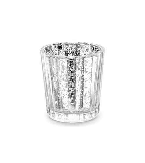 Teelichthalter - silber - 6 cm - 4 Stück