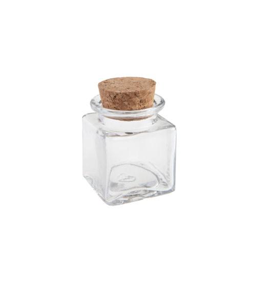 Korkenglas - quadratisch - 4 x 4 x 6 cm