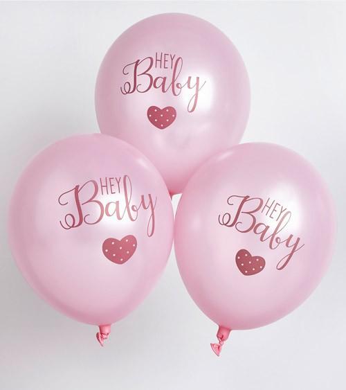 "Luftballons ""Hey Baby"" - rosa - 6 Stück"