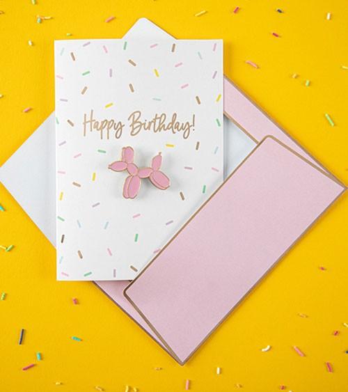 """Klappkarte mit Pin zum Geburtstag """"Happy Birthday"""""""
