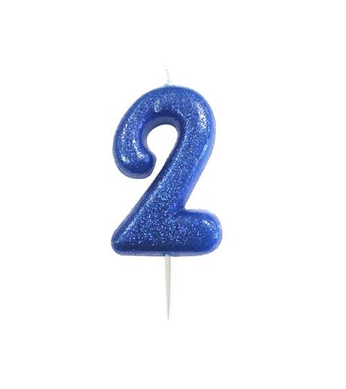 """Geburtstagskerze mit Glitter """"2"""" - blau"""