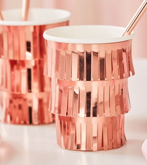 "Pappbecher mit Tasseln ""Mix it up"" - metallic rosegold - 8 Stück"