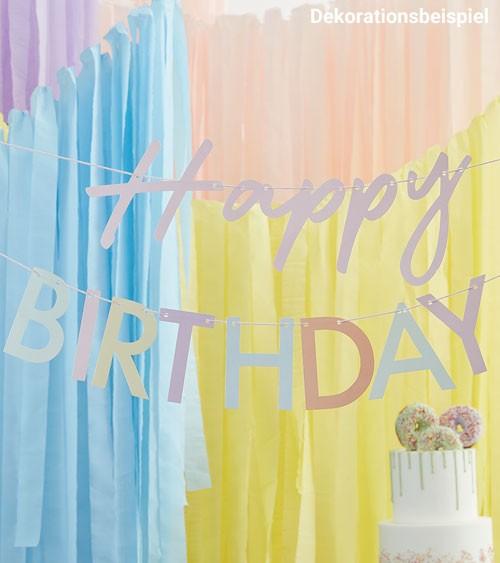 Happy Birthday Girlande in zartem Pastell - 2-teilig - je 1,5 m