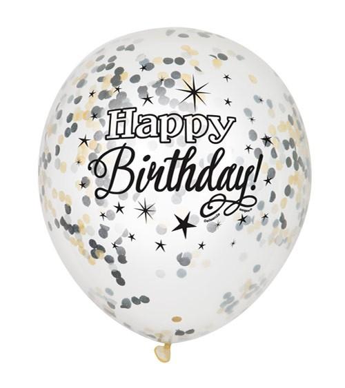 "Konfetti-Ballons ""Happy Birthday"" - schwarz/gold - 6 Stück"