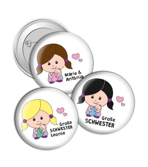 """Dein Button """"Große Schwester"""" - Wunschtext"""