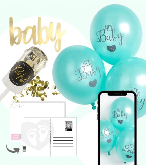 Virtuelle Babyparty Set mit Luftballons - mint - 9-teilig