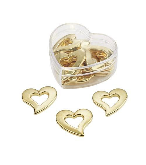 Herz-Streuteile in Herzbox - gold - 3 cm - 12 Stück