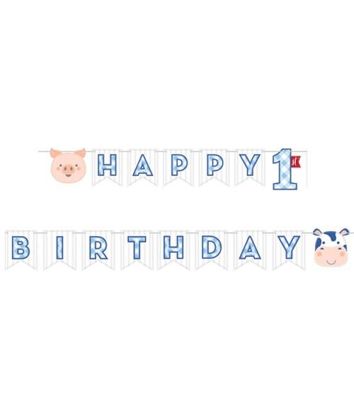 """Happy 1st Birthday Girlande """"Bauernhof - Junge"""" - 2,4 m"""