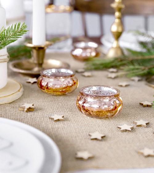 Shabby Chic Teelichthalter - rosegold - 3 cm - 4 Stück
