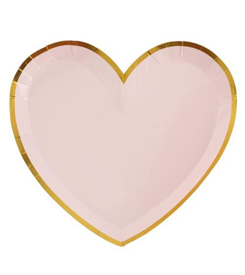 Herz-Pappteller mit goldenem Rand - rosa - 10 Stück