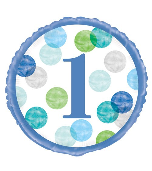 "Runder Folienballon ""1. Geburtstag - blau/pastell"" - 45 cm"