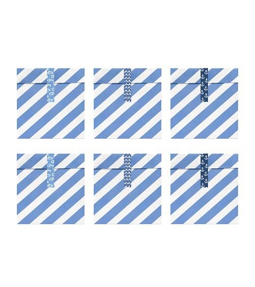 """Papiertüten mit Stickern """"Ahoi"""" - hellblau - 6 Stück"""