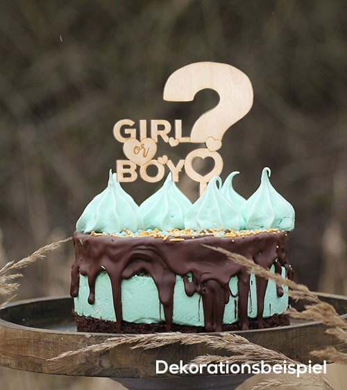 "Cake-Topper ""Girl or Boy"" aus Holz"