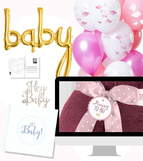 """Virtuelle Babyparty Set """"Mummy to be - rosa"""" - 17-teilig"""