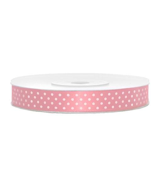 Geschenkband rosa mit weißen Punkten