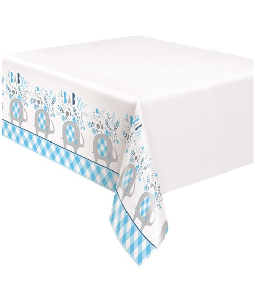"Kunststoff-Tischdecke ""Floral Elephant"" - blau - 137 x 213 cm"