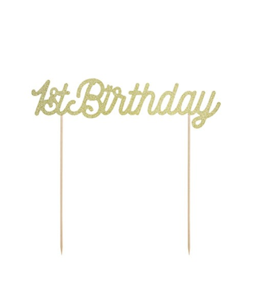 "Tortenstecker aus Papier ""1st Birthday"" - glitter gold - 20 cm"
