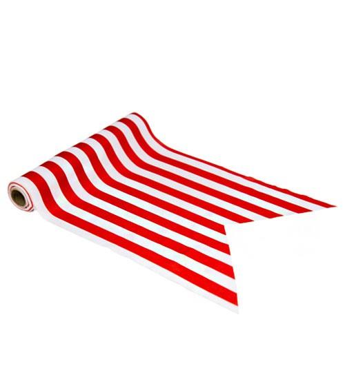 Tischläufer aus Stoff - rot-weiß gestreift - 28 cm x 5 m
